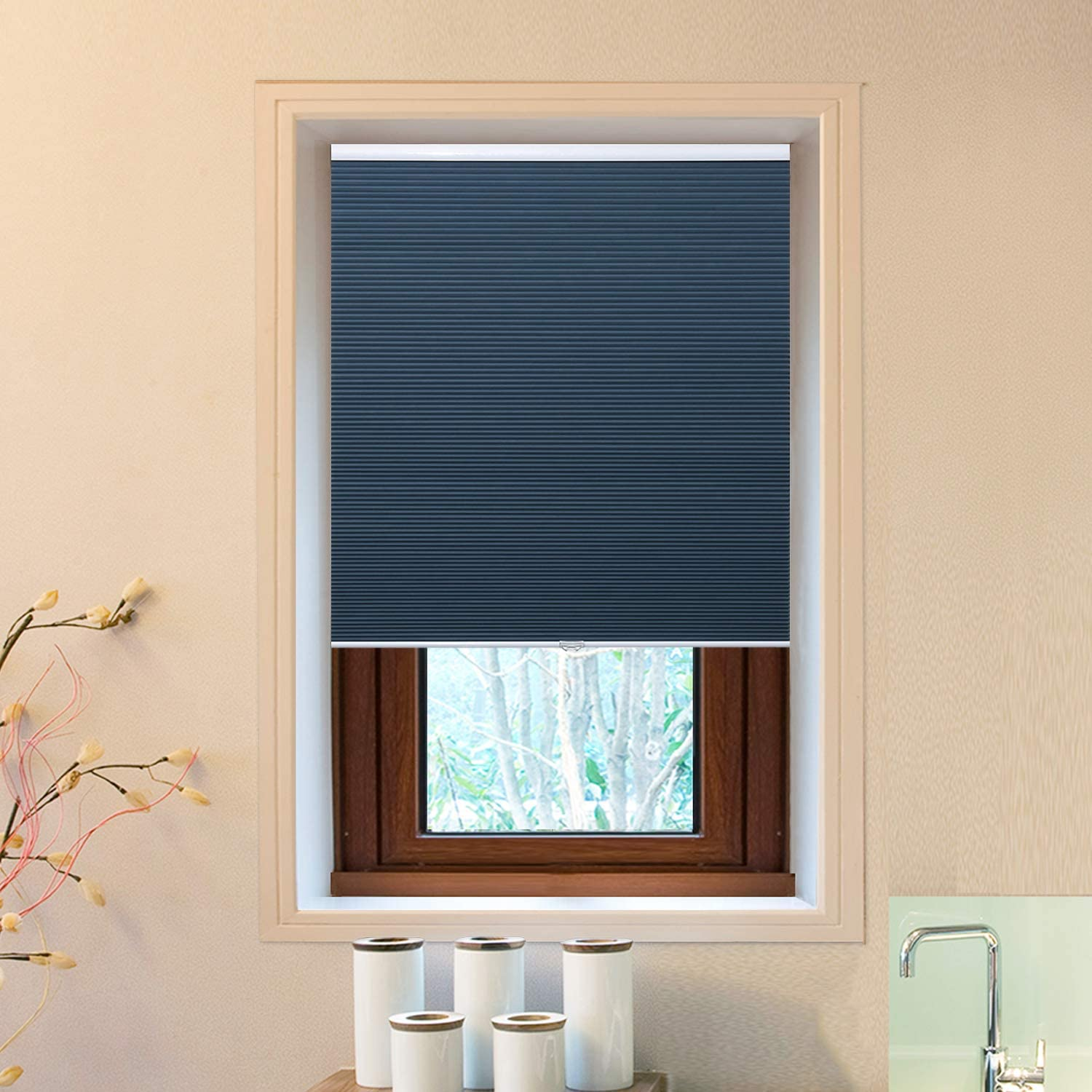 """Cellular Window Shades (Blackout) Cordless Room Darkening Blinds and Shades for Windows, Bedroom, Home (Blue 24"""" W x 36"""" H)"""