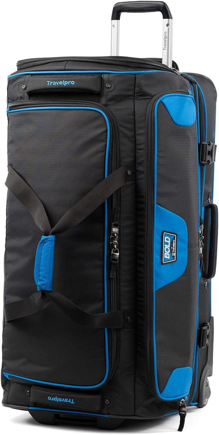 Travelpro Bold Drop Bottom Wheeled Rolling Duffel Bag Blue Black 30 Inch Travel Duffels