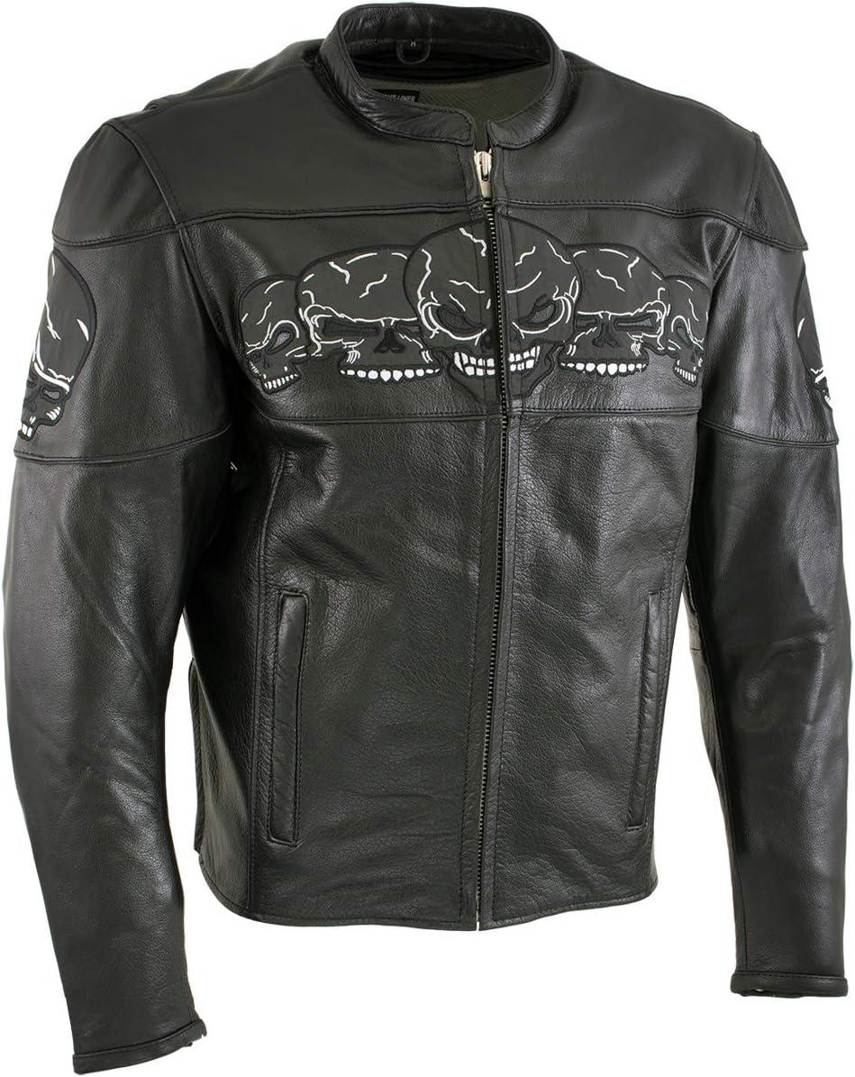 Xelement Max 71% OFF BXU6050 Men's '3 Skull J Black Motorcycle Head' Leather Latest item