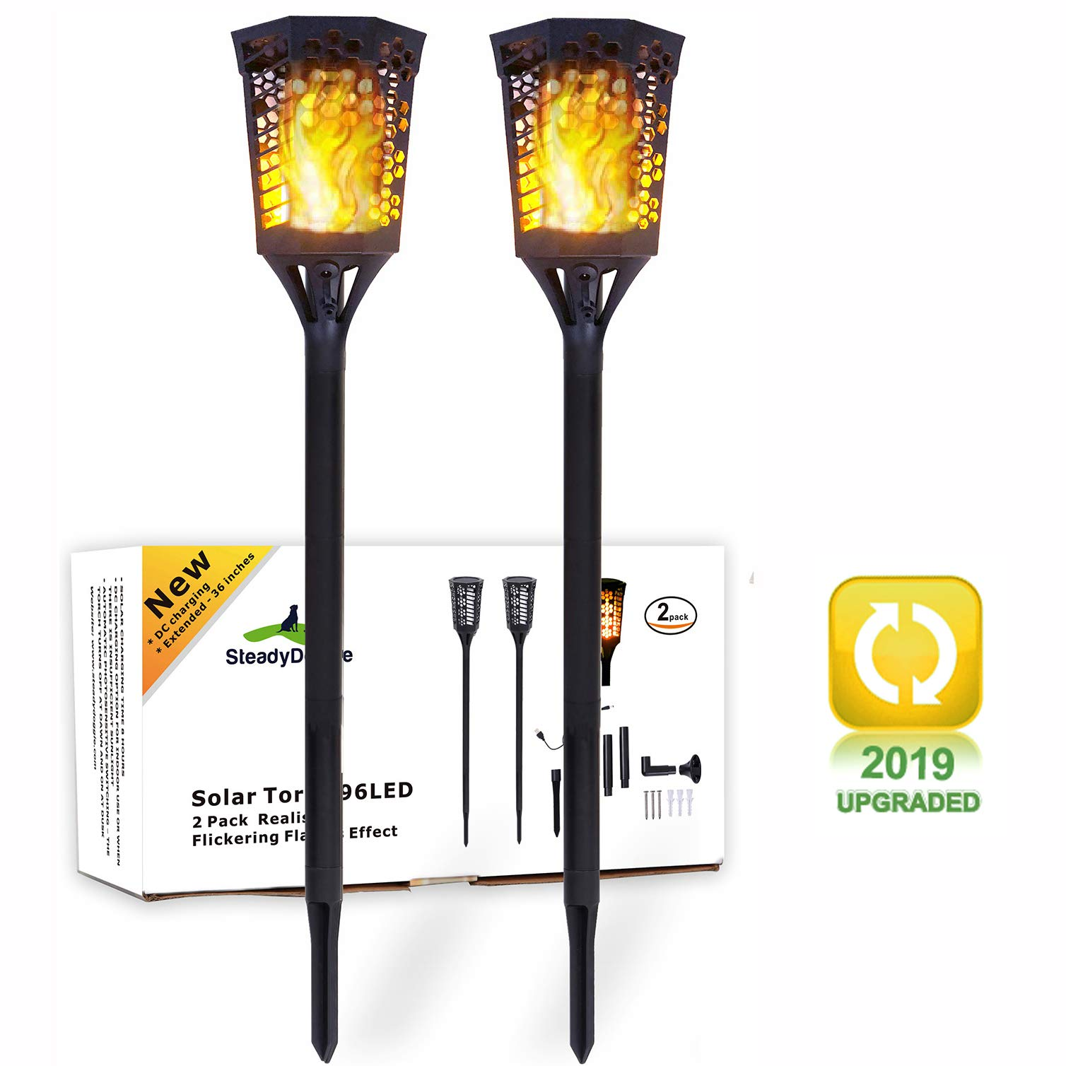 SteadyDoggie Solar Torch Landscaping Light Kit 2 Pack| Flickering Flames Torch Lights | Upgraded with USB Charging | Solar Tiki Torches Outdoor | Dusk to Dawn Lighting with Auto On/Off Switch