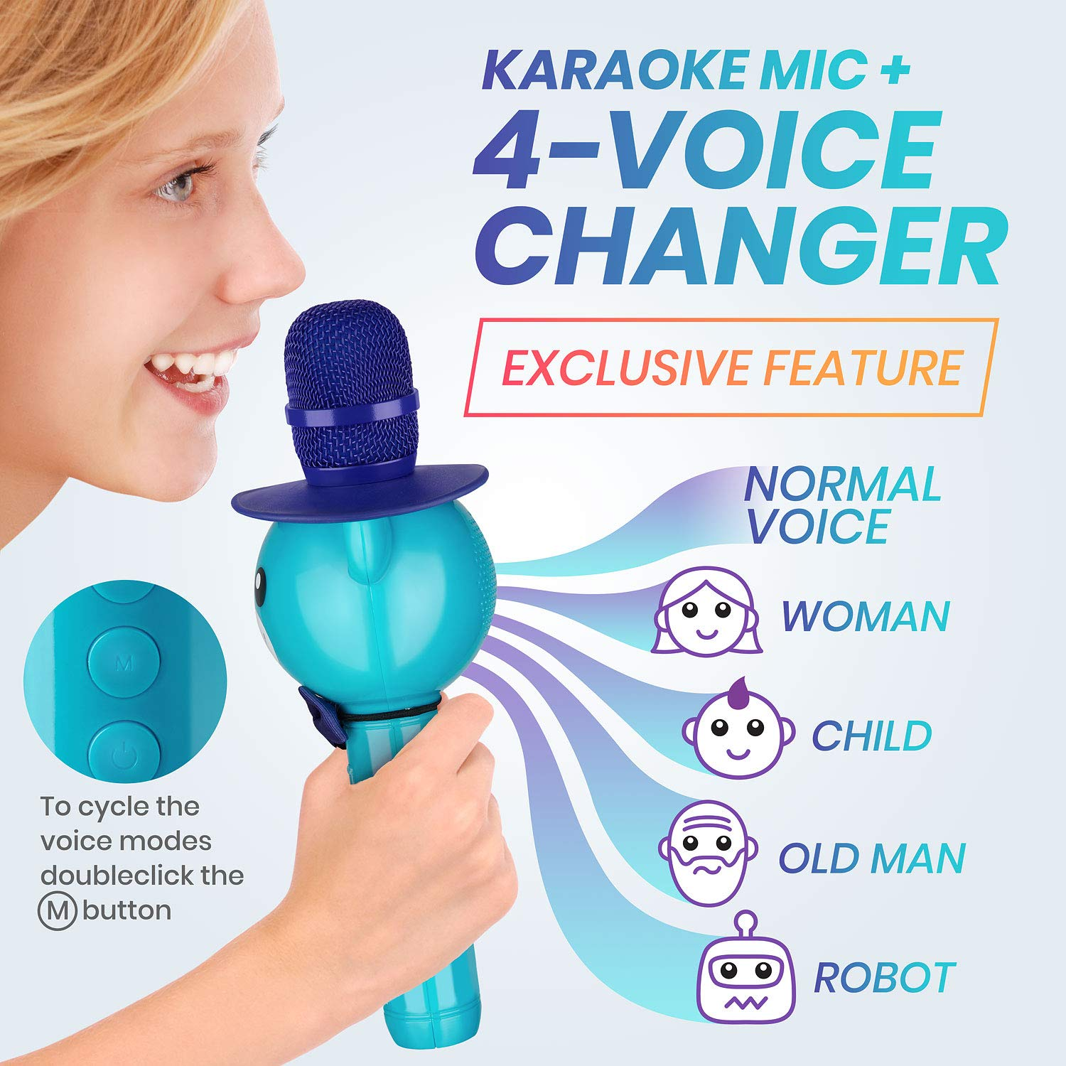 Wireless Karaoke Microphone for Kids - Bluetooth Mic Great for Solo Singing, KTV Parties, Magic Boys & Girls Christmas or Birthday Gifts - Portable Karaoke Machine for Kids Pop [Blue] by KaraoKing by KaraoKing (Image #2)