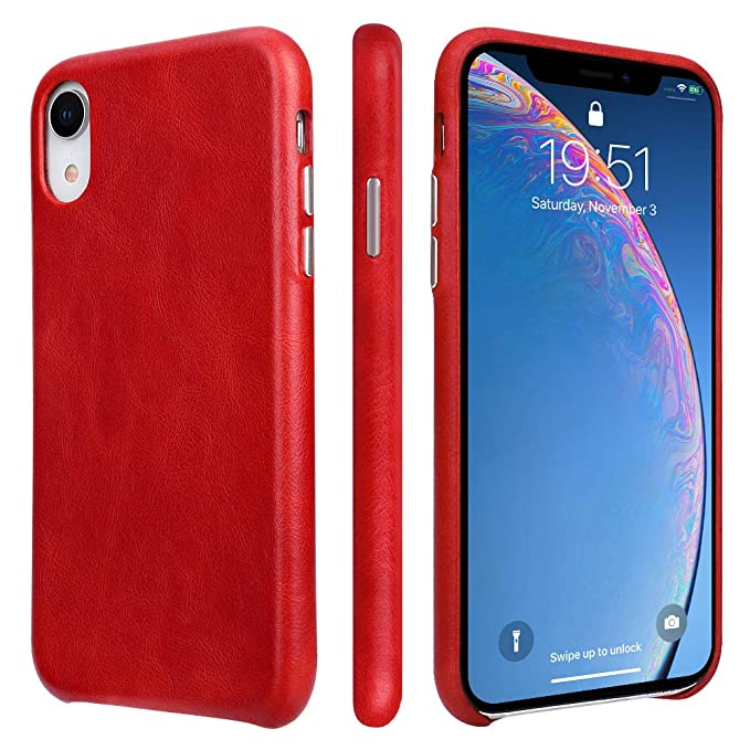 check out 08645 44bdc TOOVREN iPhone Xr Case Leather Genuine iPhone XR Leather Case Ultra Slim  Protective Shock-Resistant Vintage Shell Hard Back Cover for Apple iPhone  Xr ...