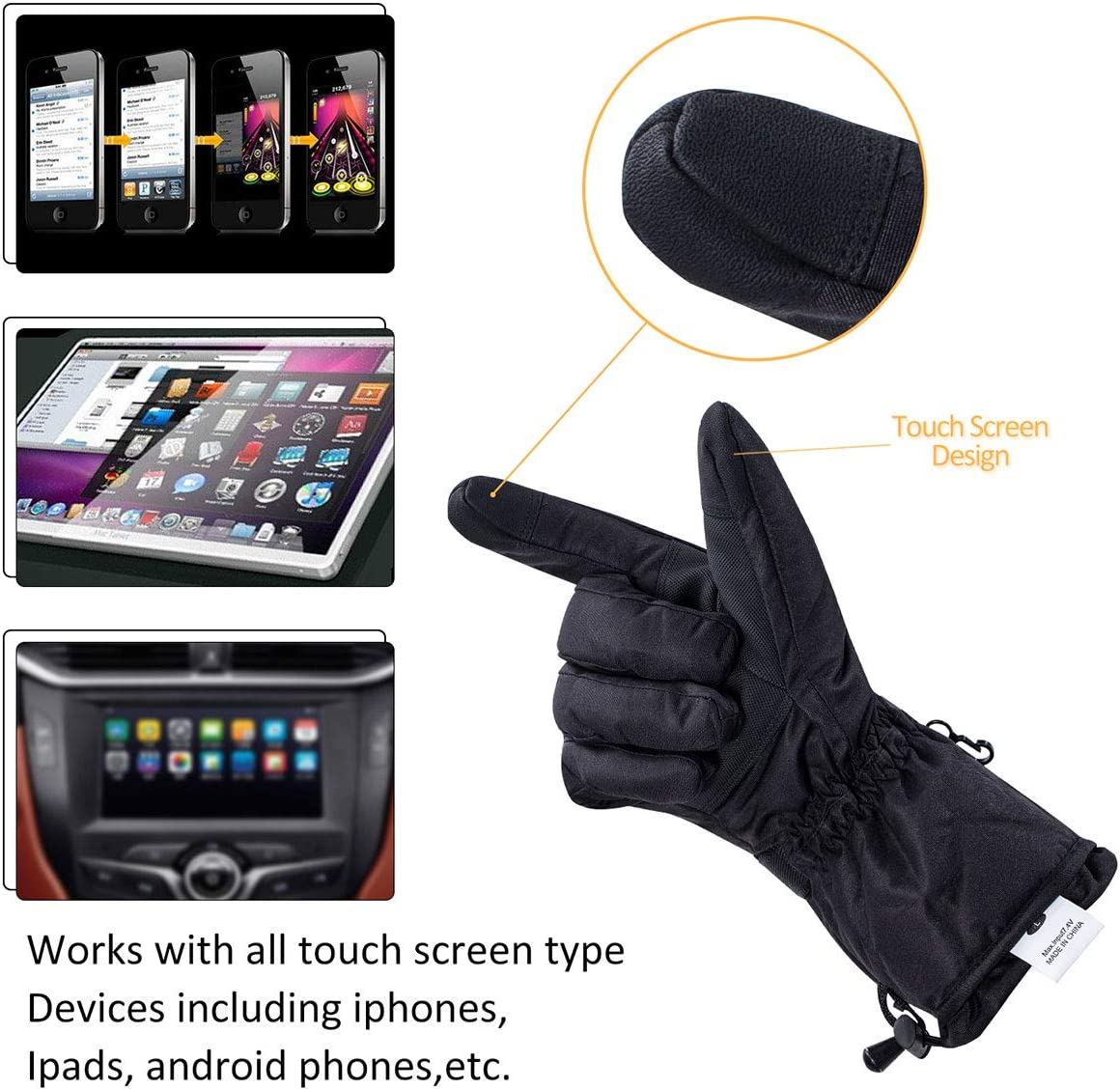 Winter Thermo Gloves Waterproof Insulated Hand Warms for Outdoor Sports Skiing Climbing Motorcycle HOOCUCO Battery Heated Gloves for Men Women