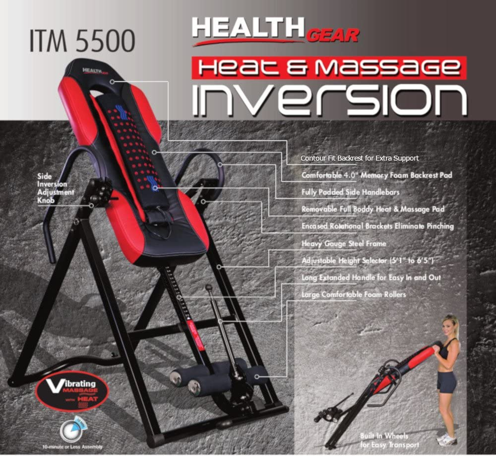 Health Gear ITM5500 Advanced Technology Inversion Table with Vibro Massage & Heat - Heavy Duty up to 300 lbs. : Sports & Outdoors
