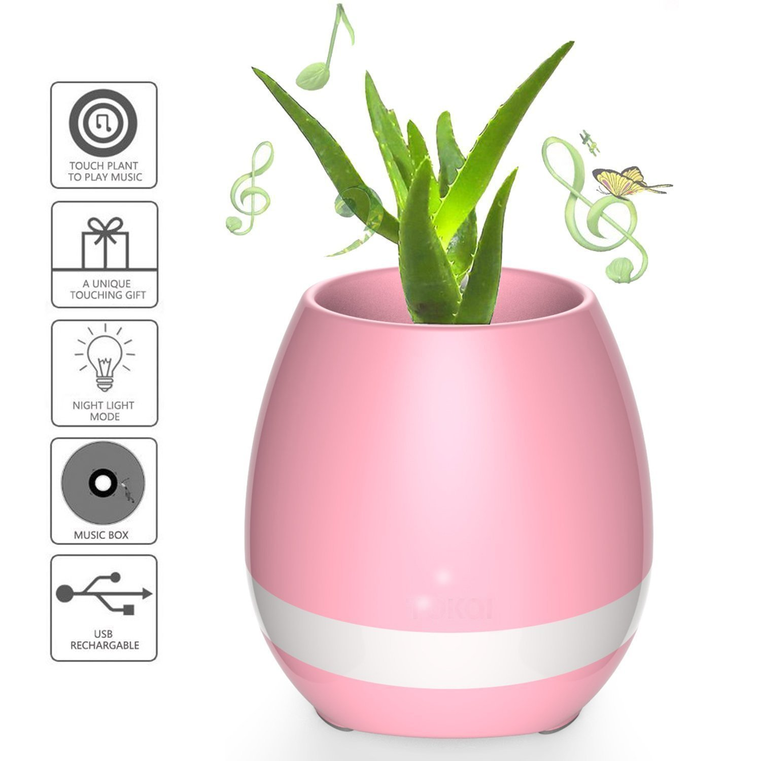 Titanium Micro Smart Bluetooth Speaker Touch Piano Music Playing Rechargeable Wireless Flower Pots with Night Light for Office Home Decor Without Plant (Pink)