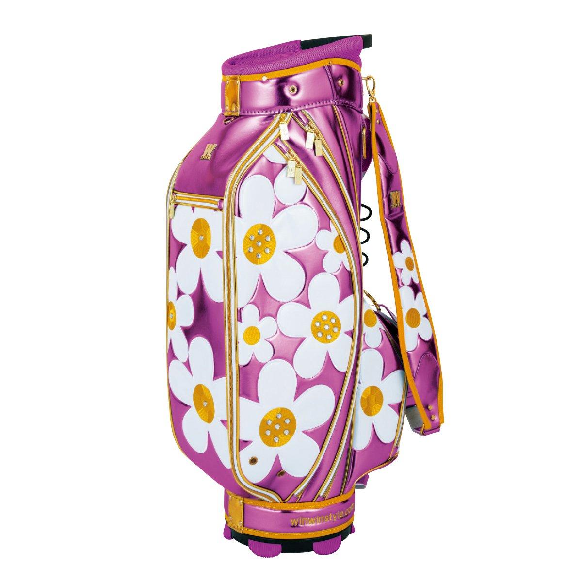 WINWIN STYLE(ウィンウィンスタイル) キャディーバッグ W STYLE DAISY CART Bag Gold Ver. 9.0型 47インチ対応 レディース CB-490 ピンク デザイン:エナメルアップリケ刺繍×ラインストーン B07B4K56KQ