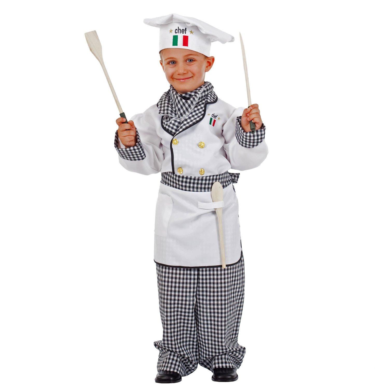 Unbekannt Chef de Vestuario Infantil Adriano White Chef de Cuadros Pizza Creador Carnaval Italiano (122)