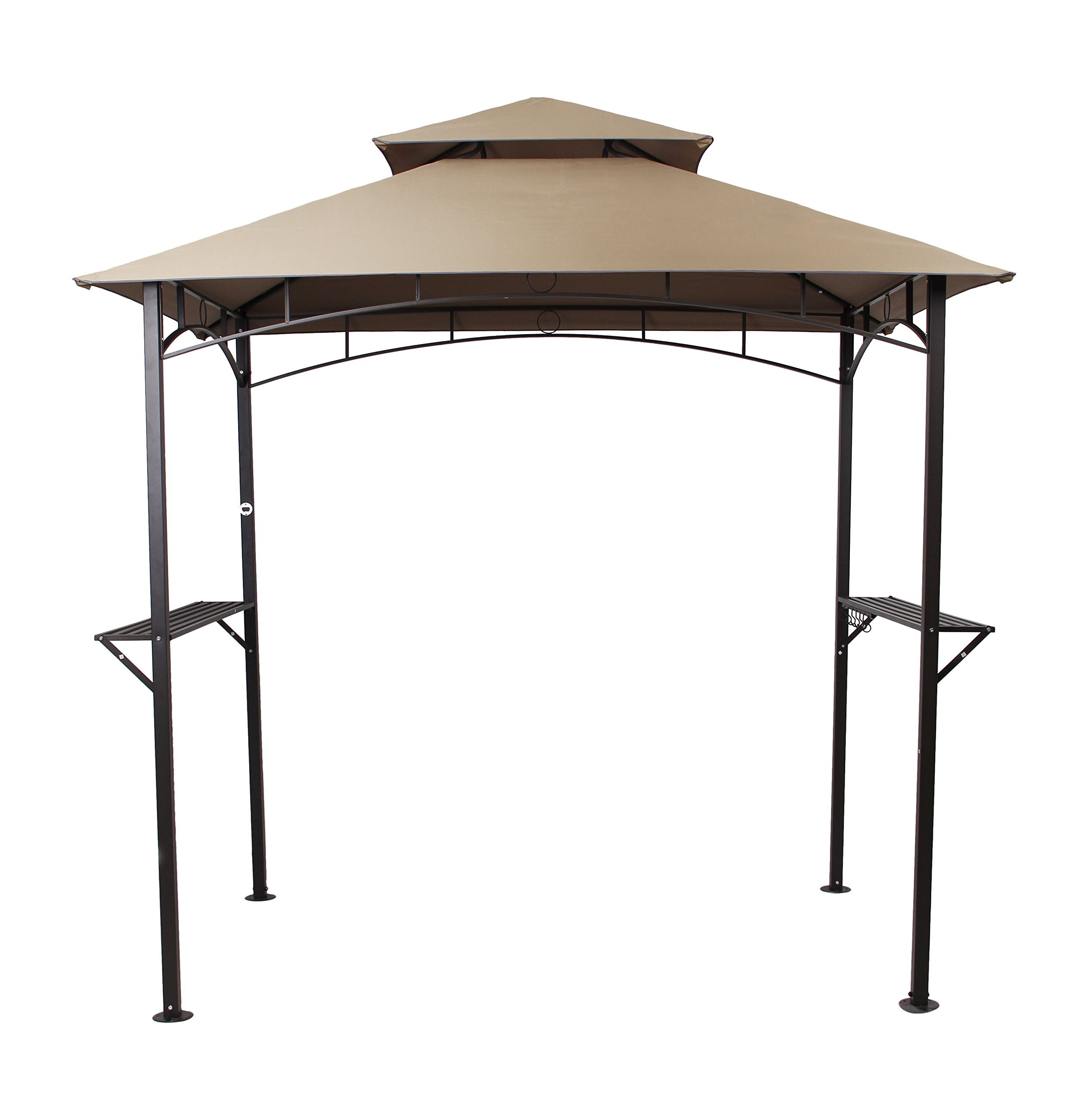 PHI VILLA 8'x 5' Outdoor Soft Top Grill Gazebo Patio Double-Tier BBQ Canopy, Brown