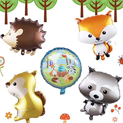Woodland Creatures Balloons - Fox,Hedgehog,Squirrel,Raccoon,Woodland Party Supplies,Woodland Birthday Decorations,Woodland Baby Shower Decorations: Toys & Games