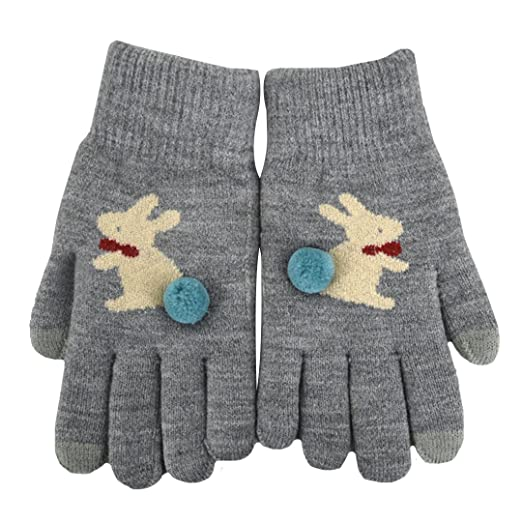 Editha Women Lovely Rabbit Pattern Knit Gloves Touchscreen Full
