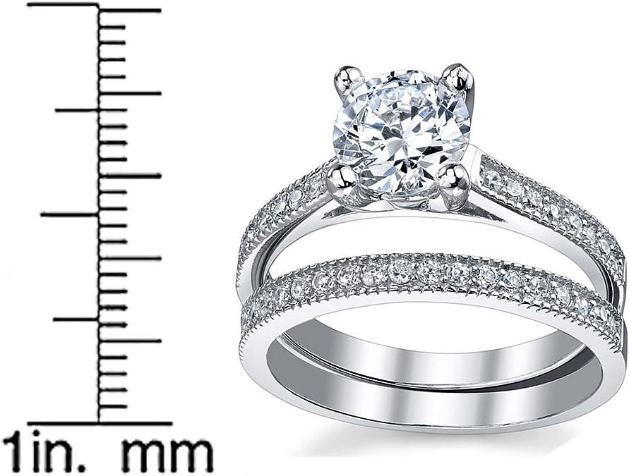 Ultimate Metals® Anillo de Matrimonio - Compromiso en Plata Esterlina, Conjunto de 2 Anillos Milgrain con Circonio Cúbico, Centro 1.25 Quilates: Amazon.es: Joyería