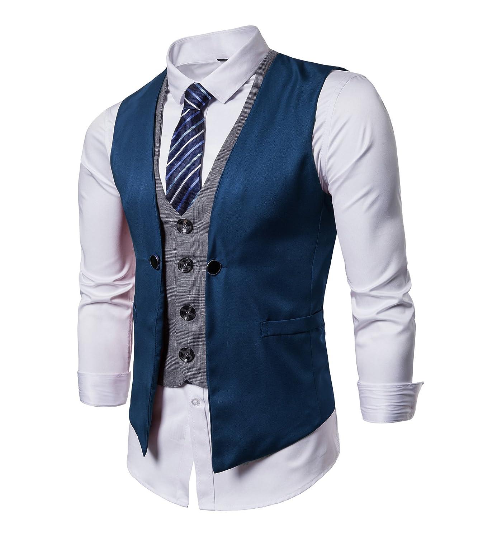 DONSON Mens Formal Business Suit Vest with Blue Striped Necktie