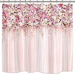 Riyidecor Bridal Floral Wall Pink Rose Shower Curtain Spring Nature Lovely Lady Woman Girl Vintage Decor Bathroom Decor Fabric Panel Polyester Waterproof 72x72 Inch Plastic 12 Pack Hooks