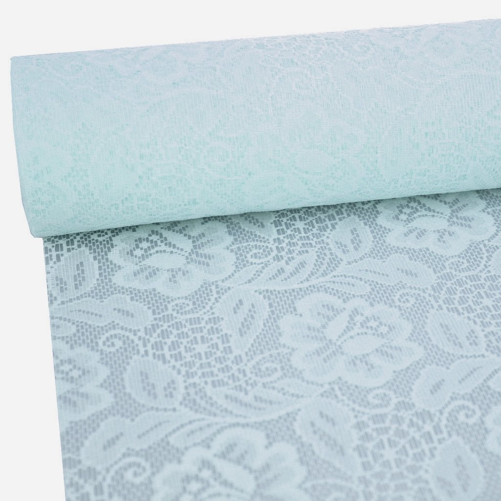 Sizolace table runner - light blue - roses - 11 by 72, 90, 96, 108... - inch + 100 acrylic diamonds heart shaped for free - 79-300-25-015