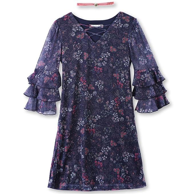 1735f5e5e829 Amazon.com  Speechless Girls  Big  Bell Sleeve Glitter Mesh Dress  Clothing