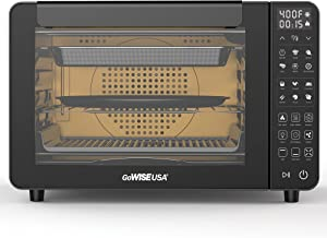 GoWISE USA 25-Quart Air Fryer Oven & Professional Dehydrator with 3 Heating Elements, 12 Functions, Preheat & Broil, & 5 Cooking Levels – Fits 12-Inch Pizza, 11 Accessories and Stainless Steel Finish