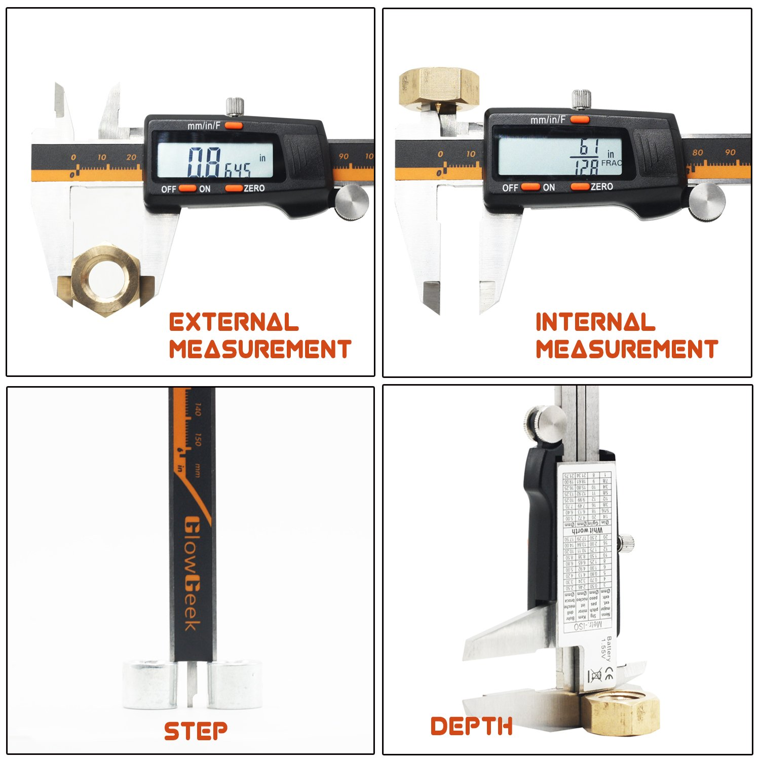 GlowGeek Electronic Digital Caliper Inch/Metric/Fractions Conversion 0-6 Inch/150 mm Stainless Steel Body Orange/Black Extra Large LCD Screen Auto Off Featured Measuring Tool by GlowGeek (Image #3)