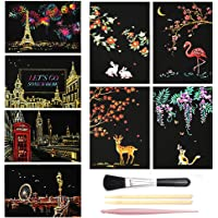 Scratch Art Papers Rainbow Sketch Pad for Kids, Mini Scratch Off Art Doodle Note Pads Scratch with Stylus/Brush, 8Packs (1)