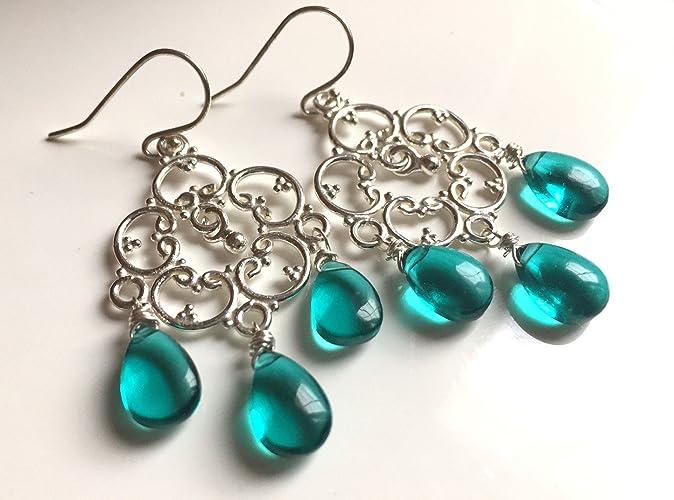 Amazon teal countryside chandelier earrings in silver or rose teal countryside chandelier earrings in silver or rose gold mozeypictures Image collections