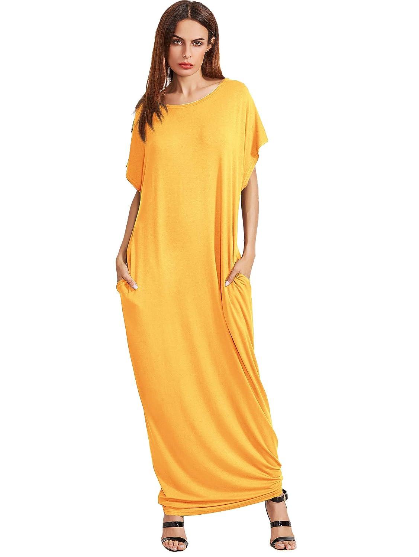 1 Yellow Verdusa Women's Casual Short Sleeve Loose Pocket Plain Shift Long Maxi Dress