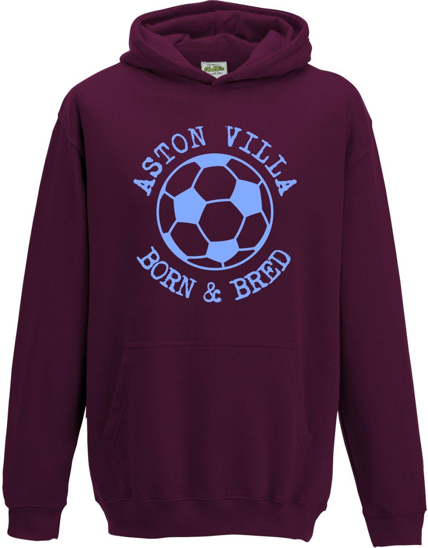 Hat-Trick Designs Aston Villa Football Baby/Kids/Childrens Hoodie Sweatshirt-Claret-Born & Bred-Unisex Gift