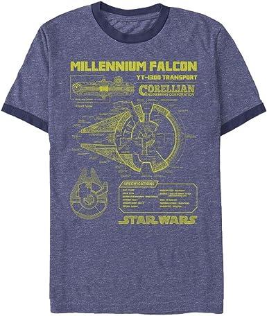 Star Wars Mens Millennium Falcon Schematics T-Shirt