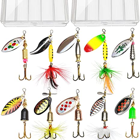 4x Hard Spinner Lure Spinnerbait Kit Mix Colors Bass Bait Minnow Fishing Lures
