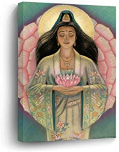 "Canvas Prints Kuan Yin Pink Lotus Heart Wood Framed Wall Art Home Office Decor, 16""x20"""