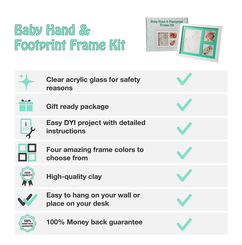 Bebé Huella, Huella y marco de fotos - de recuerdo de Kit - Recuerdos Baby Shower regalo para niños & niñas - Arcilla y de madera marco de fotos - Soporte ...
