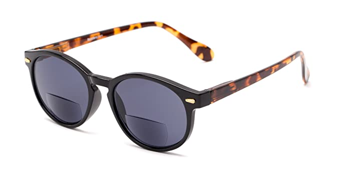 Readers.com | The Drama Bifocal Reading Sunglasses +1.50 Black/Tortoise with Smoke Round Men's & Women's Full Frame