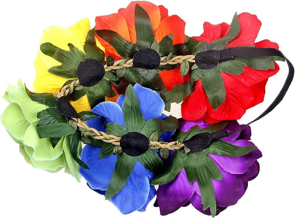 Womens Adult Rainbow Costume Sets Wave Wig Long Gloves Stockings Tail Tutu Skirt Floral Headband
