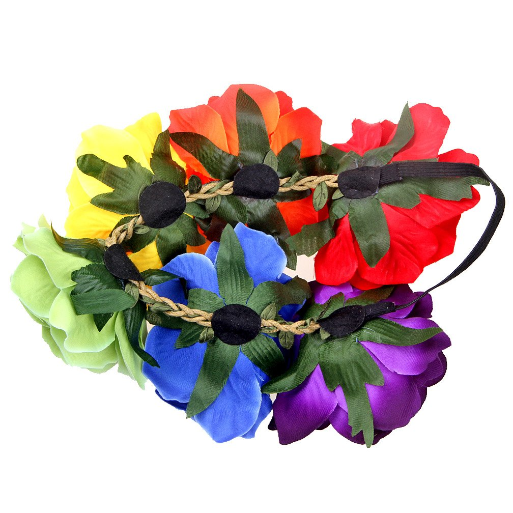 Women's Rainbow Wave Wig Long Gloves Socks 8Layered Tail Tutu Skirt Floral Headband Set (B) by ECOSCO (Image #7)