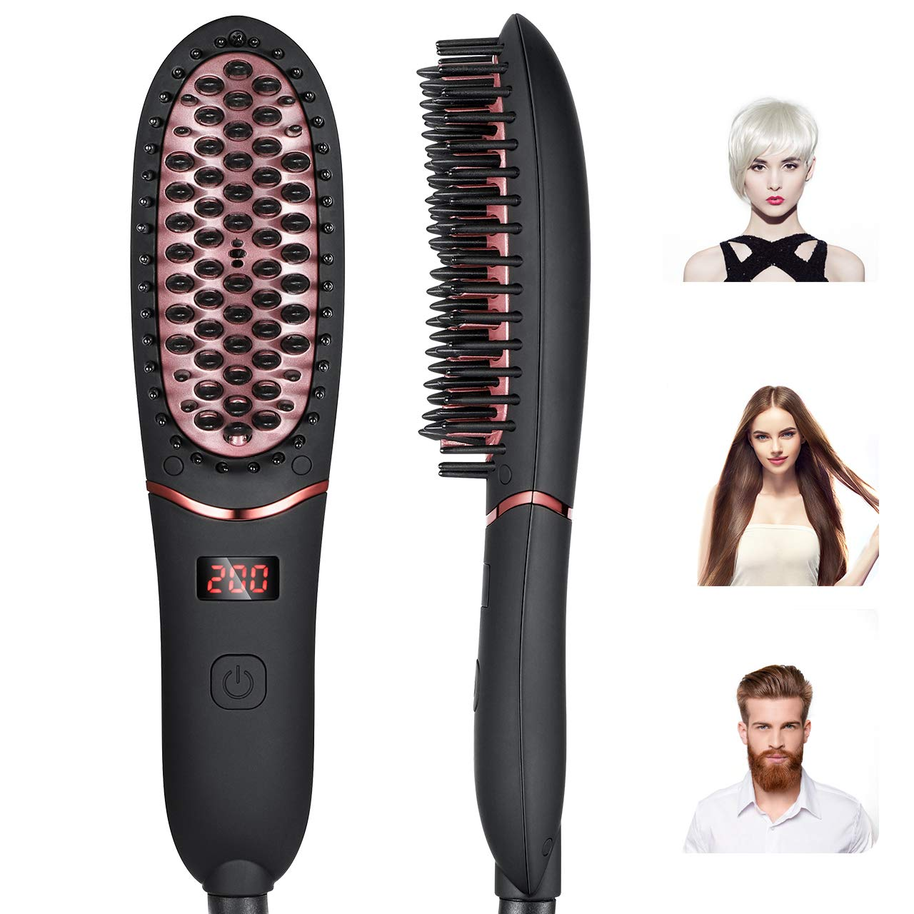 Ionic Hair Straightener Brush RIOFLY Ceramic Hair Beard Straightening Comb with 30s Fast Heating, Reduce Hair Beard Frizz, One Key Control, 5 Adjustable Temperatures for Home for Travel for Women, Men