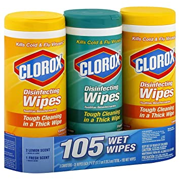 Clorox Disinfecting Thick Wipes, 3 canisters (105 Wet Wipes), Bleach-Free