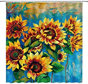 MNSC Sunflower Shower Curtain Oil Painting Sunflowers Spring Watercolor Floral Green Leaf Rustic Country Abstract Vintage Decor Bathroom Curtain Fabric 71X71Inch with Hooks,Navy Blue Yellow