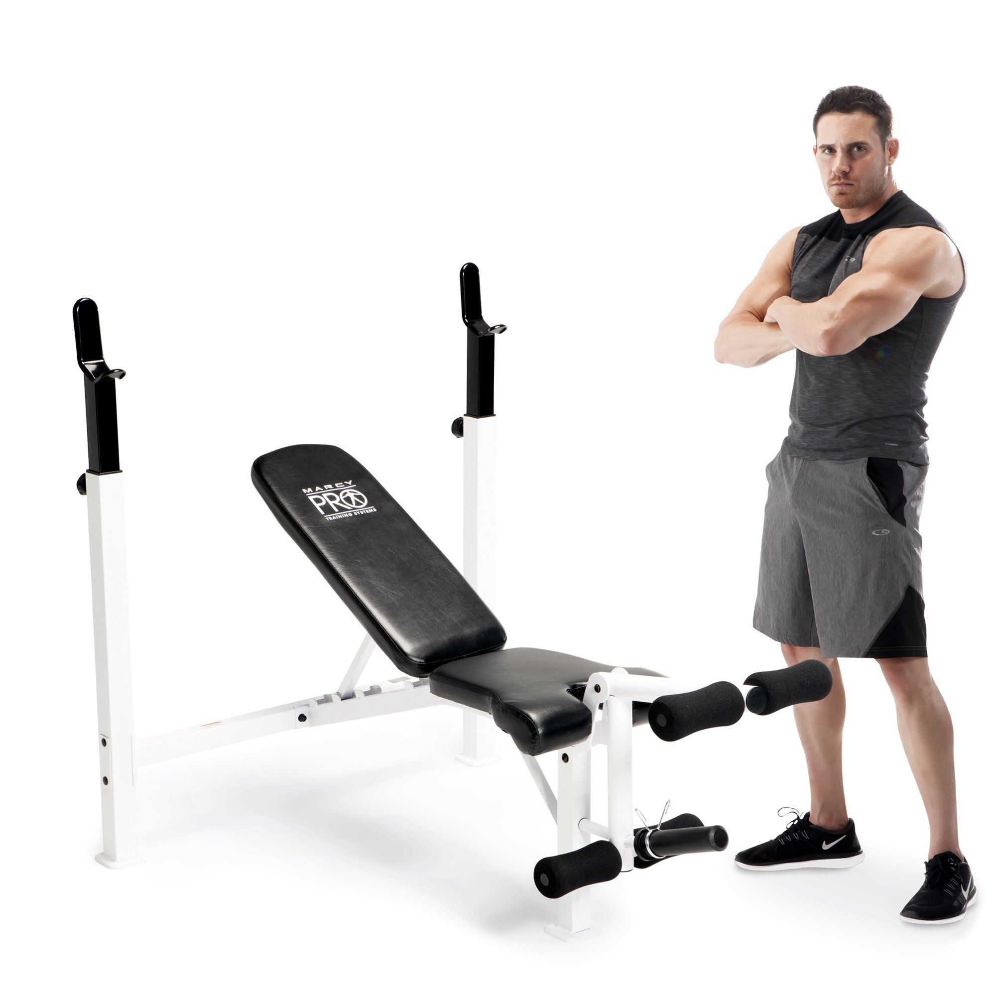Marcy Fitness Adjustable Olympic Home Gym Weight Lifting Workout Bench w/ Rack
