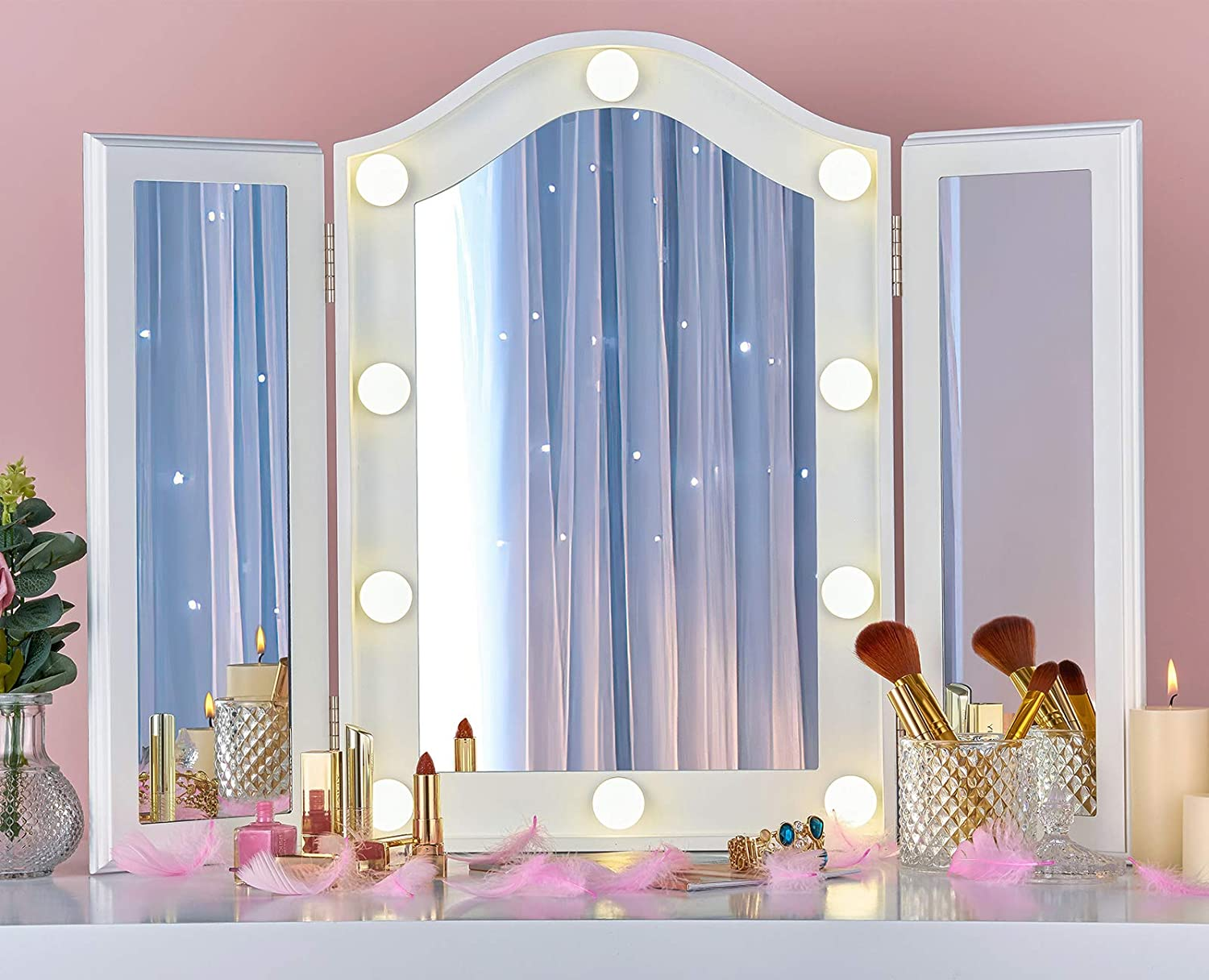 LUXFURNI Vanity Lighted Tri-fold Makeup Mirror