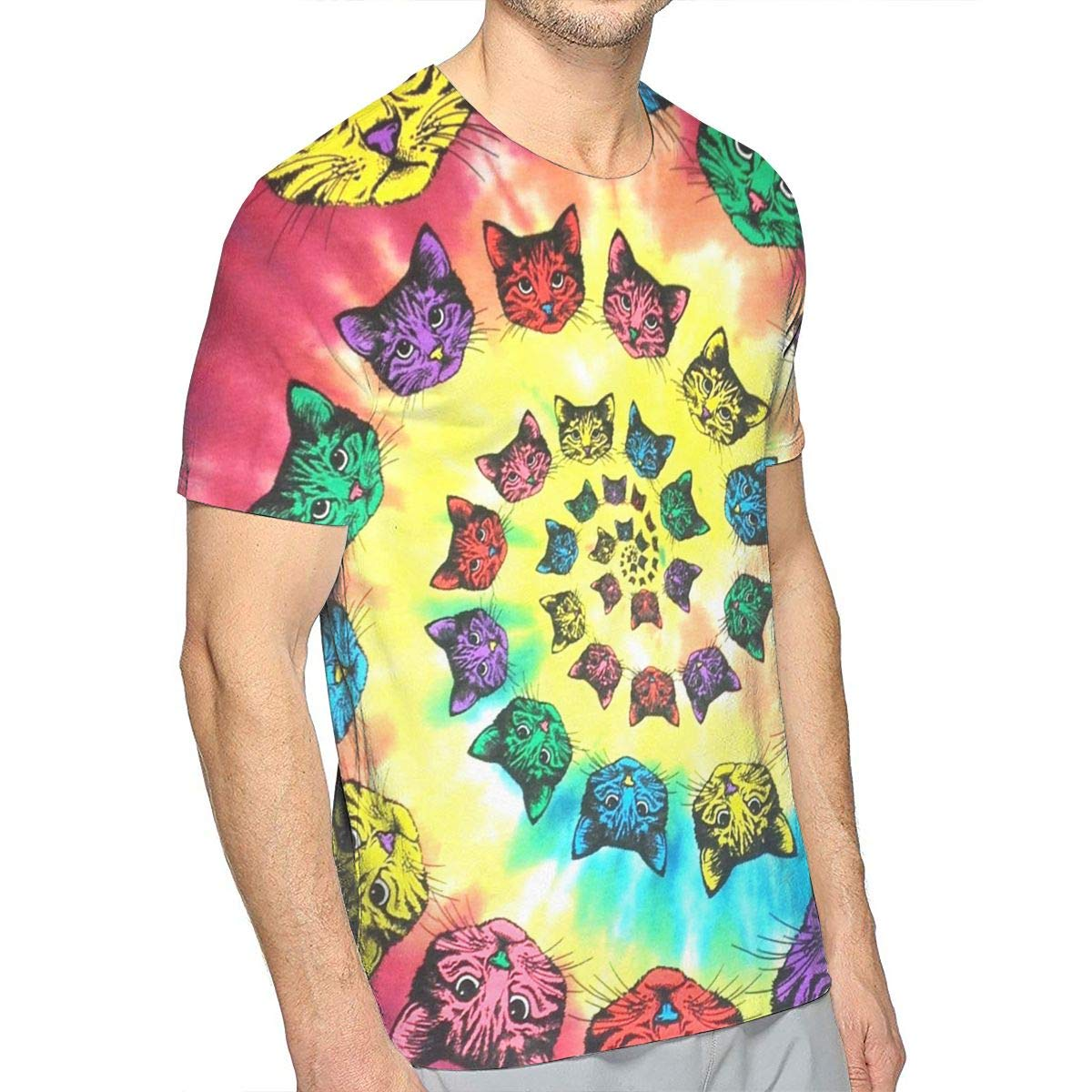 78c52754f Amazon.com: Spiral Cats Catopia Tie Dye Mens 3D Print T-Shirt Short Sleeve Graphic  Tee: Clothing