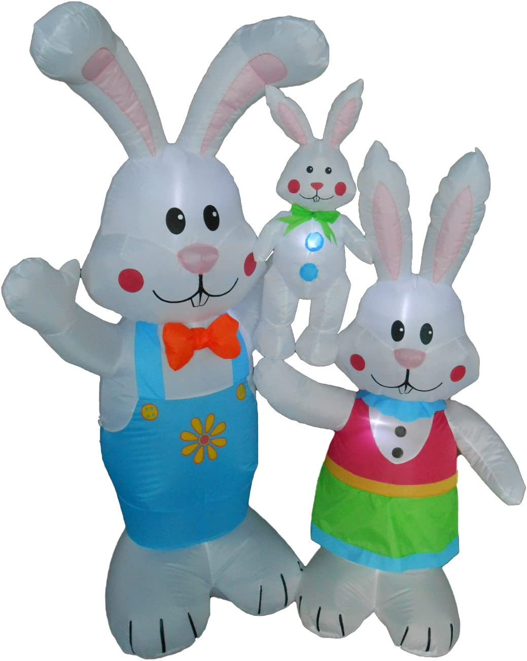 BZB Goods 5 Foot Tall Easter Inflatable Party Bunny Bunnies Family - Yard Blow Up Decoration