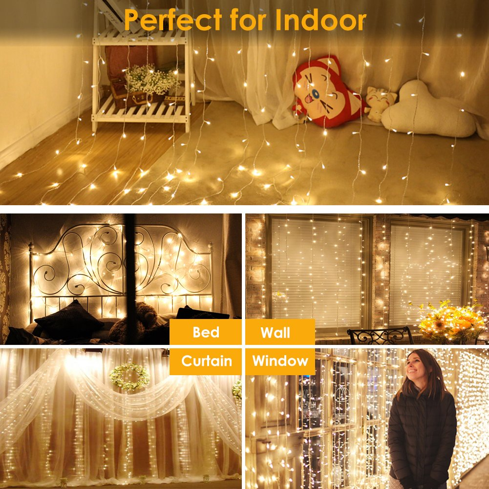 GDEALER 300 Led Window Curtain Lights with Timer,Remote Control String Lights Fairy Lights for Wedding Party Bedroom,6.6x6.6ft Hanging Lights Twinkle Lights Christmas Lights Wall Decor Warm White by GDEALER (Image #2)