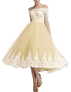 Off Shoulder with Sleeves Lace Tulle Cocktail Evening Gowns Midi Wedding Party Dresses C15