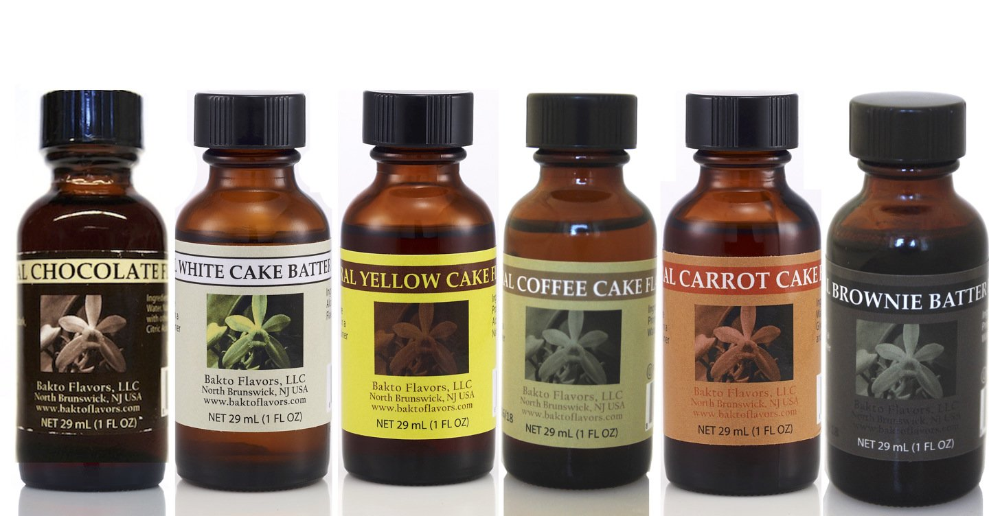 Bakto Flavors, Cake Combo Pack Of 6: WHITE CAKE BATTER, YELLOW CAKE, COFFEE CAKE, BROWNIE BATTER, CARROT CAKE, CHOCOLATE : Natural Collection For Cooking and Baking Food Items!