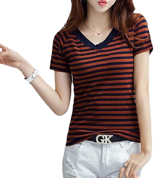 6a4b273c6c180 Amazon.com: FLCH+YIGE Women Short Sleeve Crew Neck Stripe T Shirt ...