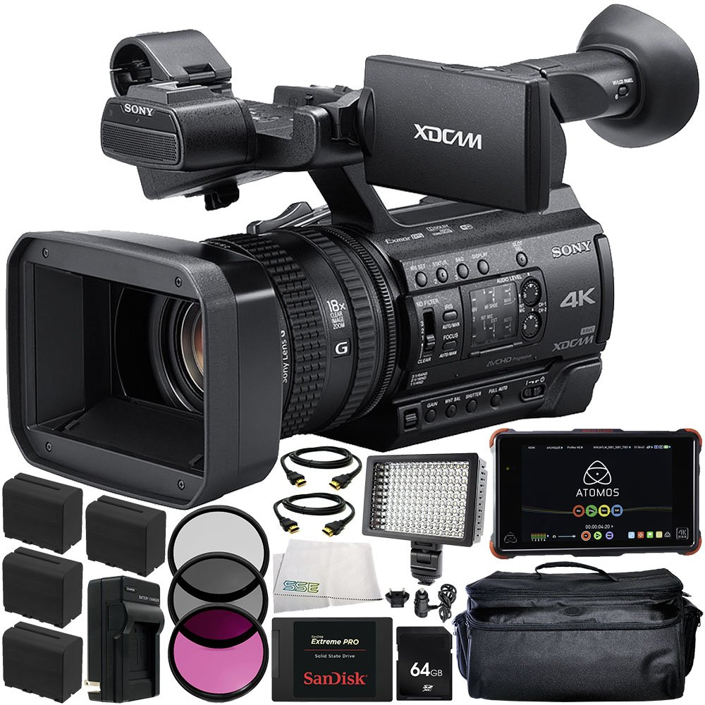 Sony PXW-Z150 4K XDCAM Camcorder + Atomos Ninja Flame 7'' 4K HDMI Recording Monitor 17PC Accessory Kit Includes 64GB SD Memory Card + 4 Replacement F970 Batteries + MORE
