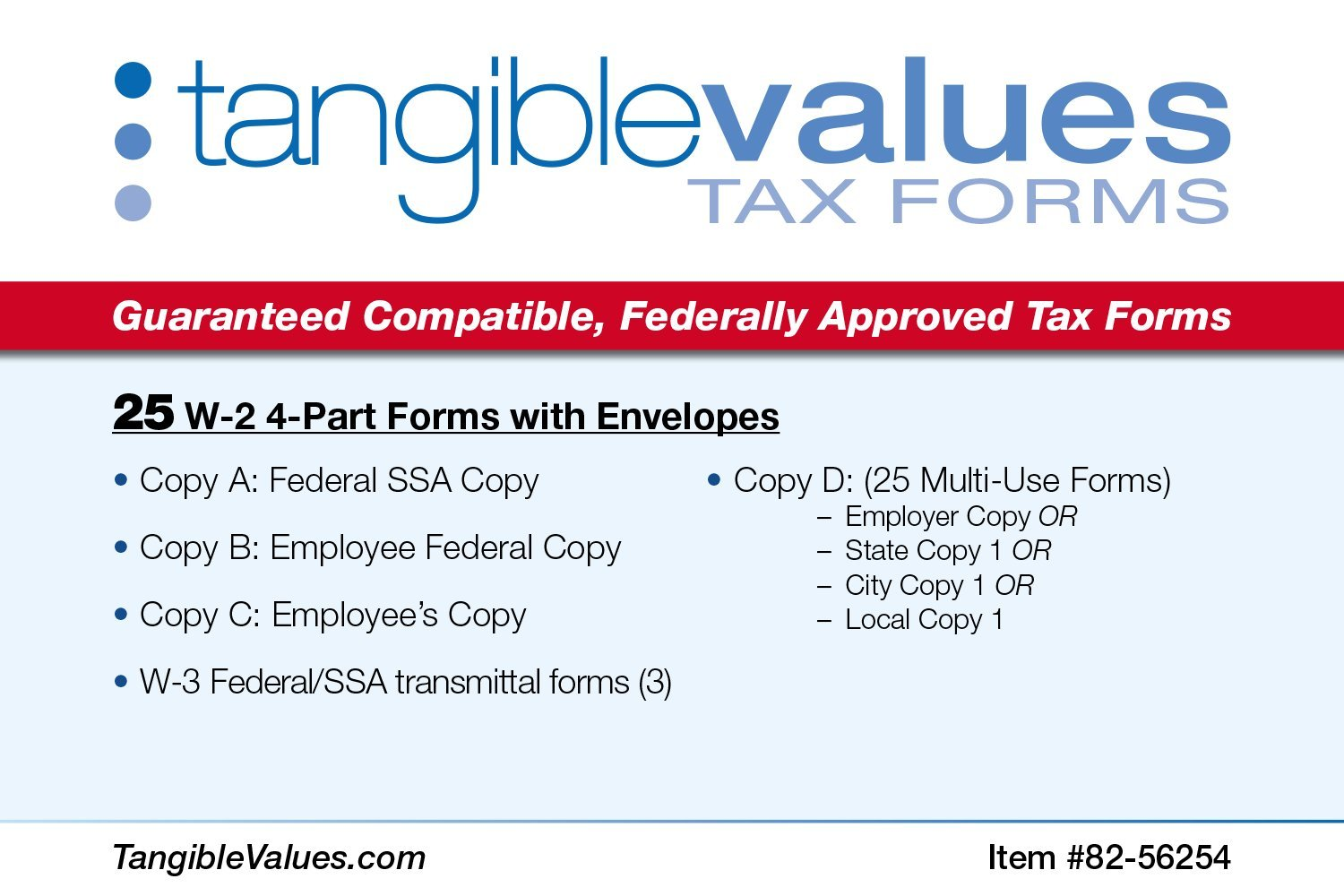 Amazon.com : Tangible Values W-2 Laser Forms (4-Part) Kit with ...