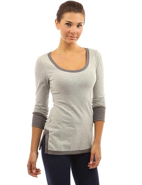 PattyBoutik Mujer Camiseta Cuello Abertura Lateral túnica (Gris Claro y Gris 36)