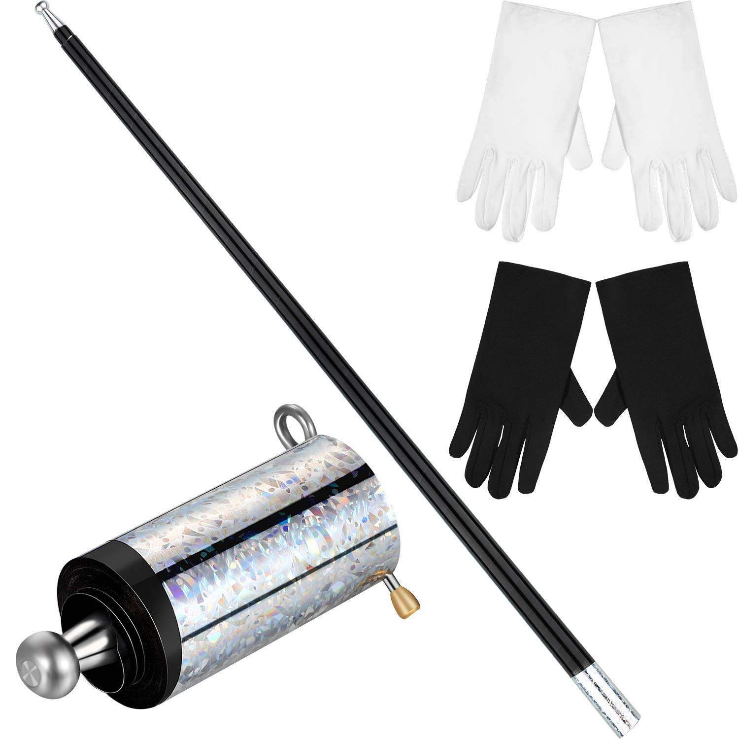 Magic Wand Magic Cane Black Metal Appearing Cane with 2 Pairs Gloves for Magician Costume Accessories by Gejoy