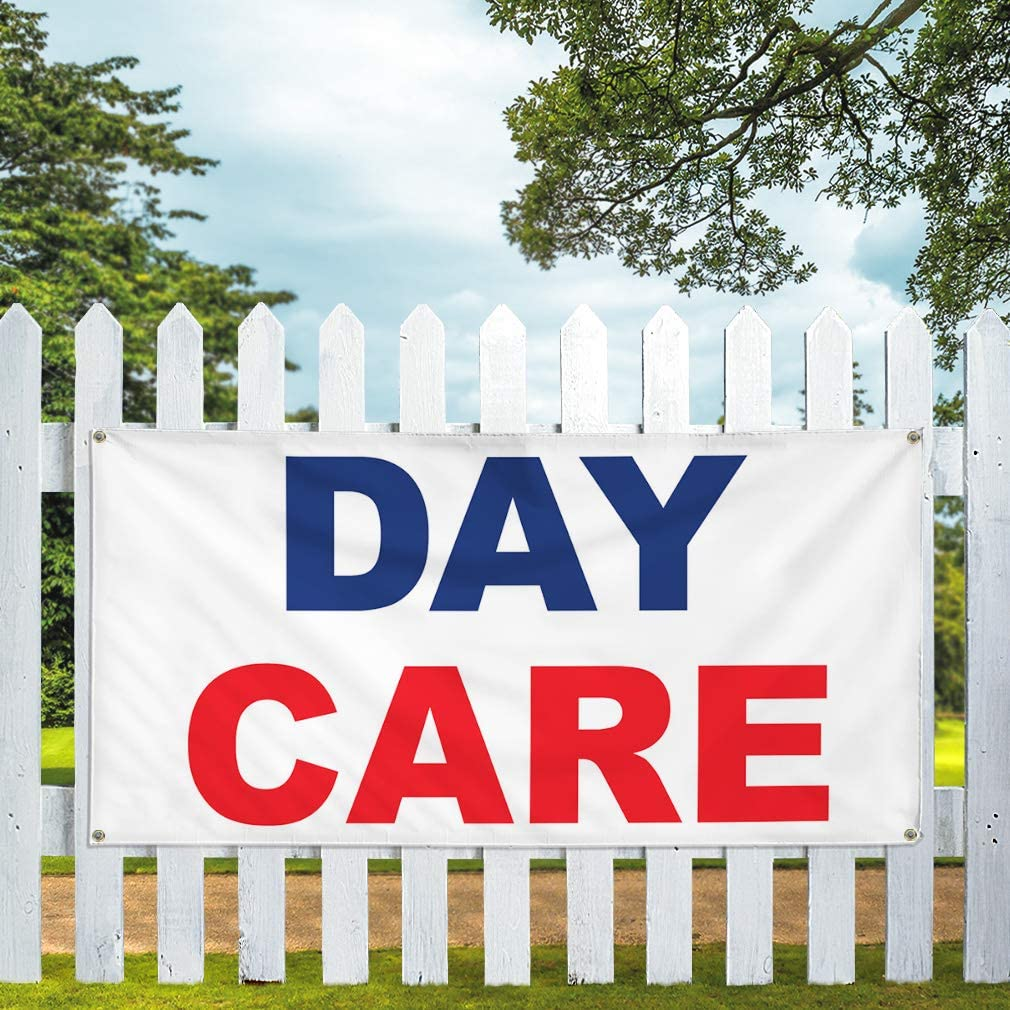 Vinyl Banner Multiple Sizes Day Care Blue Red Education Outdoor Weatherproof Industrial Yard Signs 10 Grommets 60x144Inches