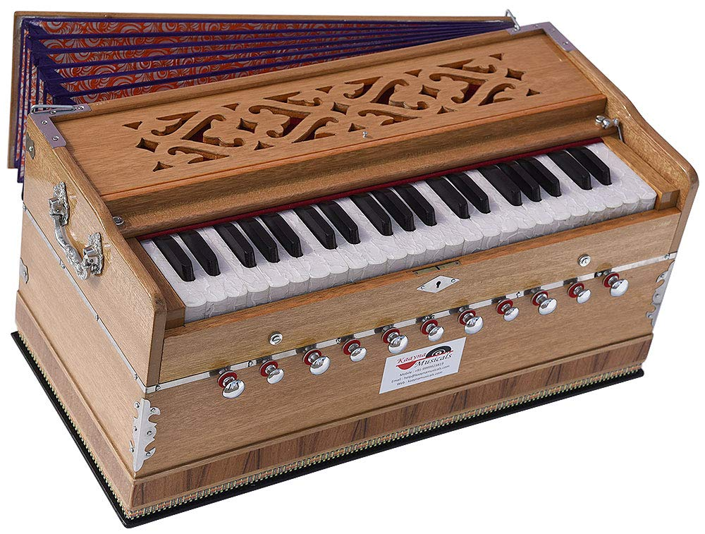 Harmonium Pro Grade By Kaayna Musicals, 11 Stop- 6 Main & 5 Drone, 3½ Octaves, Teak Colour, Designer Bellow, Coupler, Gig Bag - 440 Hz. Best for Yoga, Bhajan, Kirtan, Shruti, Mantra, Meditation, Chant by Kaayna Musicals