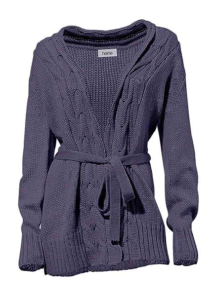 Heine Chaqueta de punto Mujer Chaqueta de punto Long abrigo de punto con lana color morado violeta medium: Amazon.es: Ropa y accesorios
